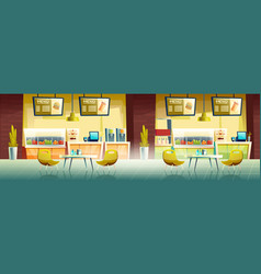 fast food cafe interior empty cafeteria design vector image