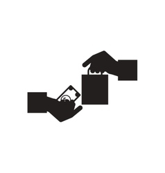 Flat icon in black and white hand money bag vector image