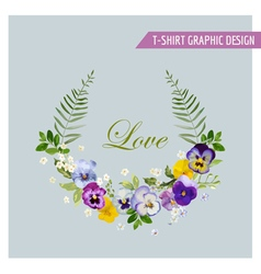 Floral Wreath Graphic Design - for t-shirt vector