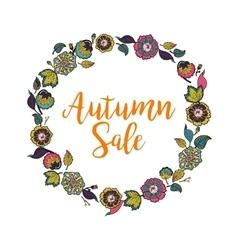 Floral wreath with text autumn sale vector