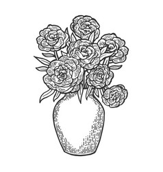 flowers in vase engraving vector image