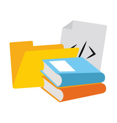 Folder and books with prograaming codes vector