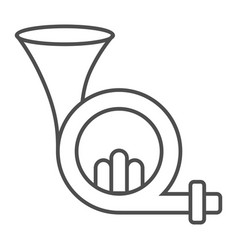 French horn thin line icon musical and instrument vector