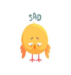 Funny sad cartoon comic chicken vector