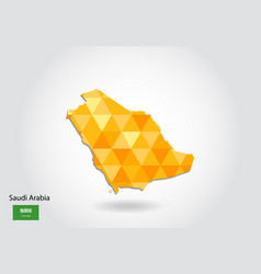 geometric polygonal style map of saudi arabia low vector image