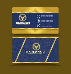Golden blue business card visiting card vector