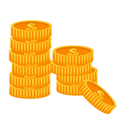 golden dollar coins financial success and wealth vector image