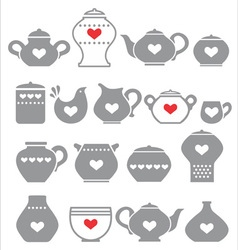 Grey kitchen pots vector