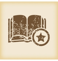 Grungy favorite book icon vector