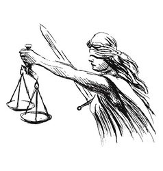 hand sketch allegory of justice vector image