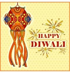 Hanging kandil lamp and diya for Diwali decoration vector image