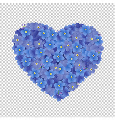 Heart from blue flowers vector