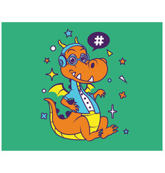 hipster dragon cartoon t shirt design vector image