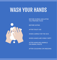 Info graphic about when to wash your hand vector