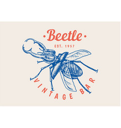 insect logo vintage bug beetle label for bar vector image