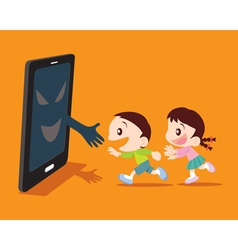 kids and smartphone concept vector image