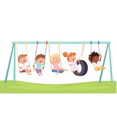 kids swing children funny games rides on car vector image