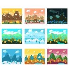 Landscape cartoon seamless backgrounds set vector