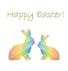 Multicolor silhouette of two Easter bunny rabbits vector