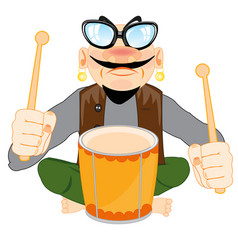 Musician with drum vector