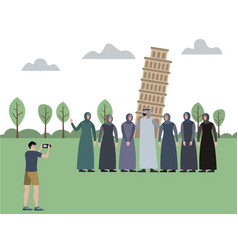 muslim family man with a harem photographed vector image