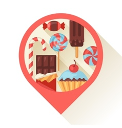 Navigation marker with colorful candy sweets and vector