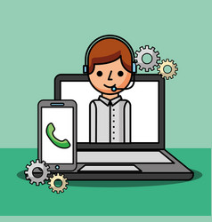 Operator in laptop smartphone work support vector