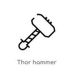 Outline thor hammer icon isolated black simple vector