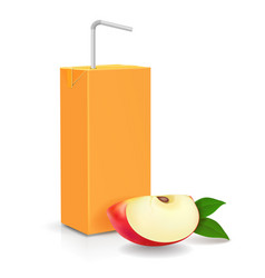 Pack apple juice with drinking straw vector