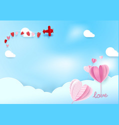 Paper art style heart shape balloons flying in sky vector