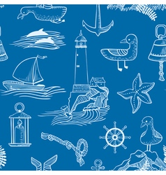 Pattern with marine objects vector