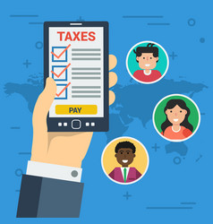 Paying taxes online vector