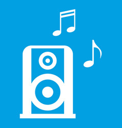 Portable music speacker icon white vector