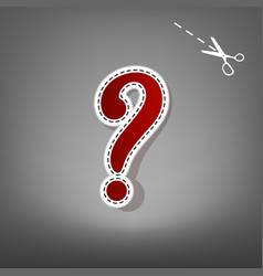 question mark sign red icon with for vector image