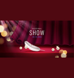 red curtain at theater hall for show sign vector image