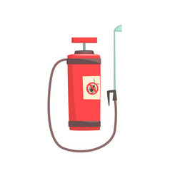 Red pressure sprayer for extermination of insects vector