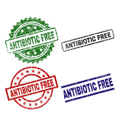 Scratched textured antibiotic free seal stamps vector