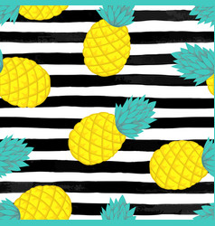 Seamless background with pineapple on black and vector