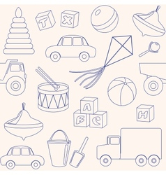 Seamless pattern with toys outlines vector