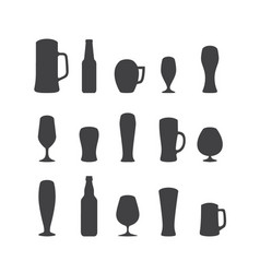 set beer glasses and beer mugs icons vector image