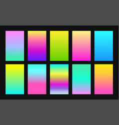 Set gradient backgrounds neon color vector