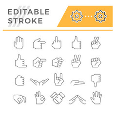 set line icons hand gesture vector image