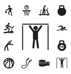 set of 12 editable active icons includes symbols vector image