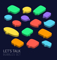 set of 3d isometric speech bubbles icon vector image