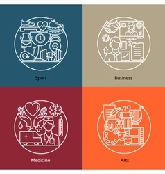 Set of logos sport business medicine vector