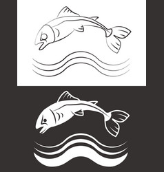 silhouette and line fish with waves vector image