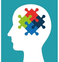 silhouette head puzzle creativity icon vector image