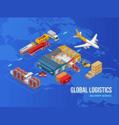 simple logistics scheme on world map vector image