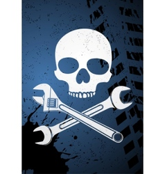 skull with wrenches vector image