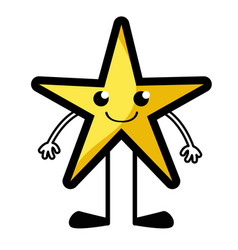 Smile star kawaii with arms and legs vector